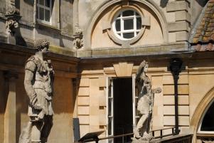 Statues of Roman figures.